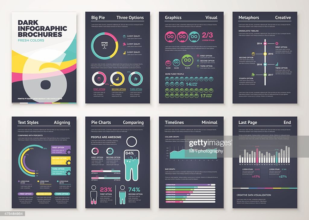 Black infographic business brochure elements in vector format.