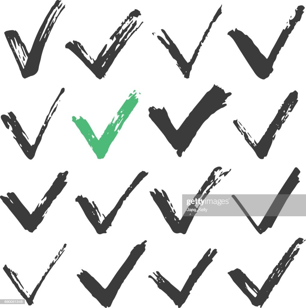 Black ink brush stroke check marks set, black brush checkmarks. Hand drawn style traced paint check marks, ticks concepts. Vector illustration