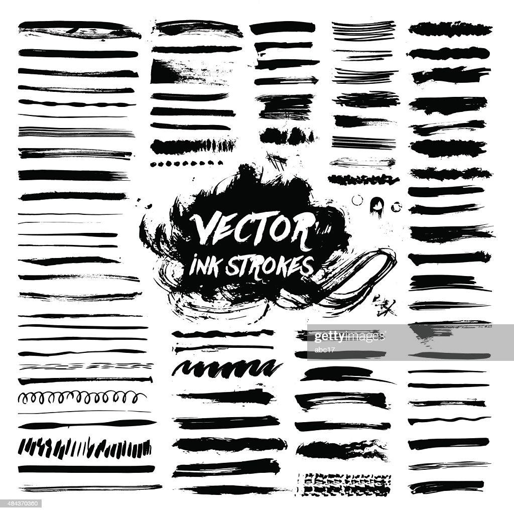black ink brush vector strokes