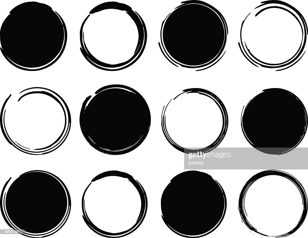 Black ink round frames