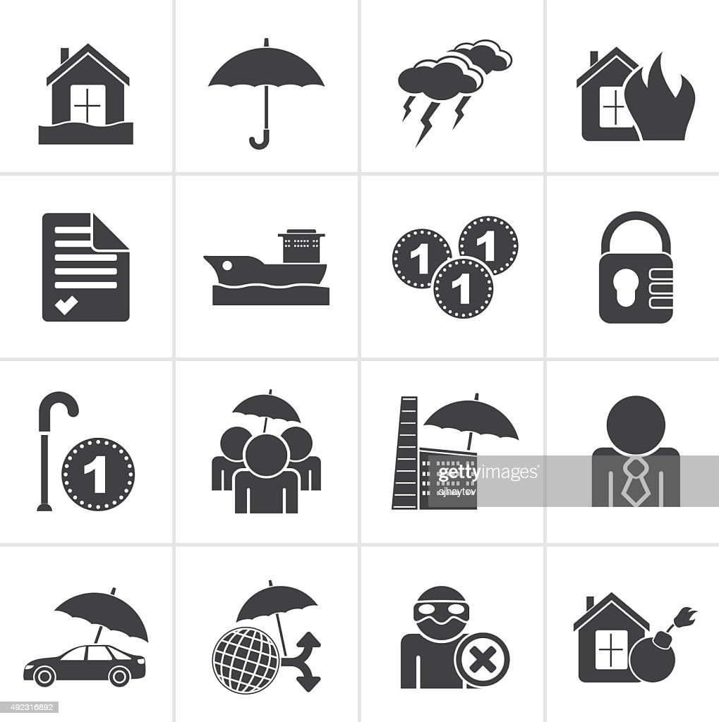 Black Insurance and risk icons