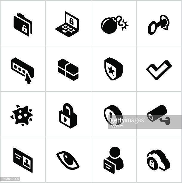 illustrations, cliparts, dessins animés et icônes de noir icônes de sécurité internet - permis de conduire