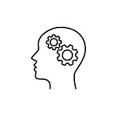 Black isolated outline icon of head of man and cogwheel on white background. Line icon of head and gear wheel.