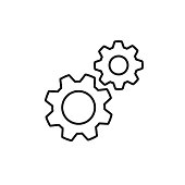 Black isolated outline icon of two cogwheels on white background. Line icon of gear wheel. Settings.