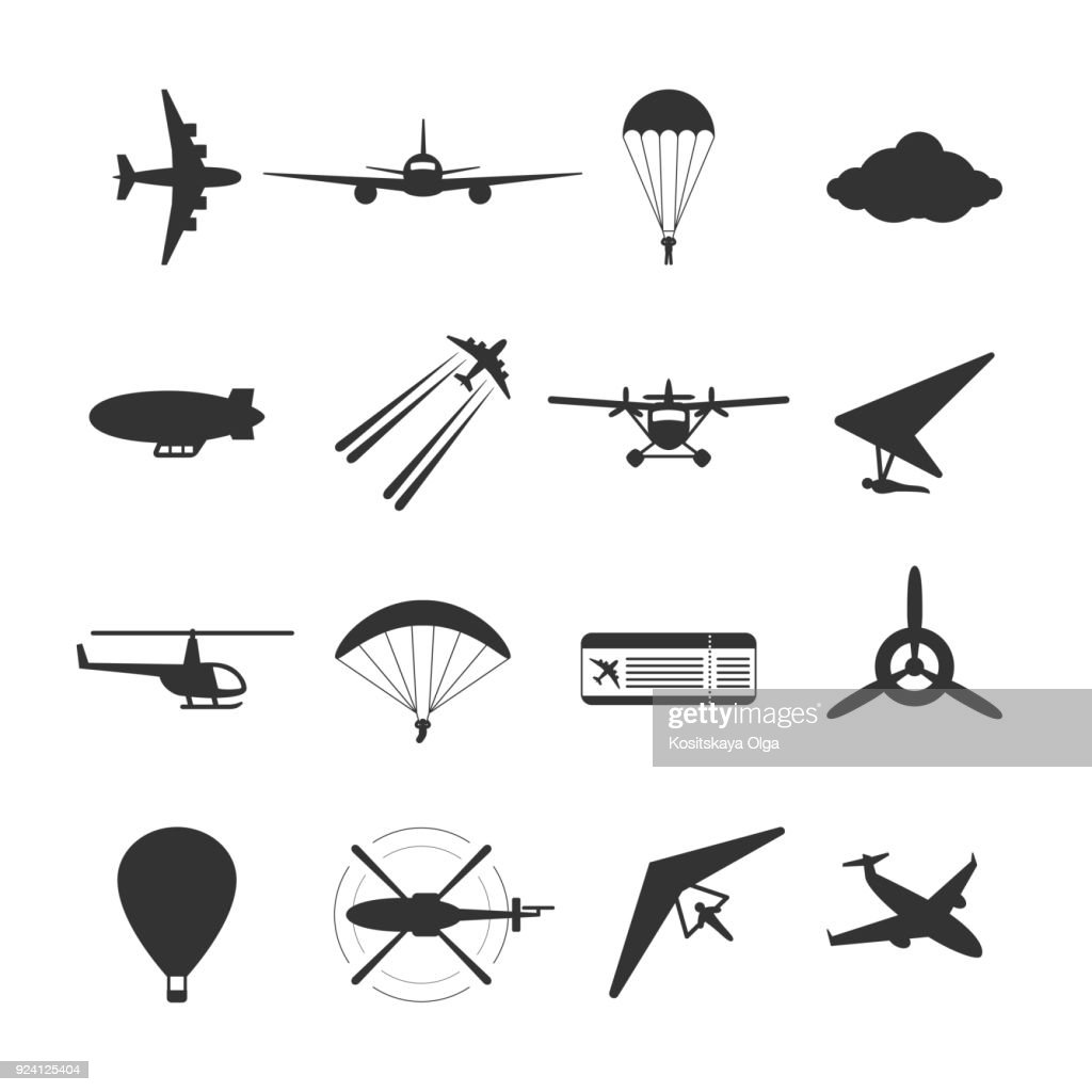 Black isolated silhouette of hydroplane, airplane, parachute, helicopter, propeller, hang-glider, dirigible, paraglide, balloon. Set of aviation icon.