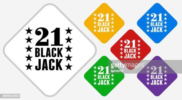 21 Black Jack Color Diamond Vector Icon