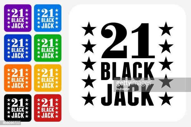 21 Black Jack Icon Square Button Set