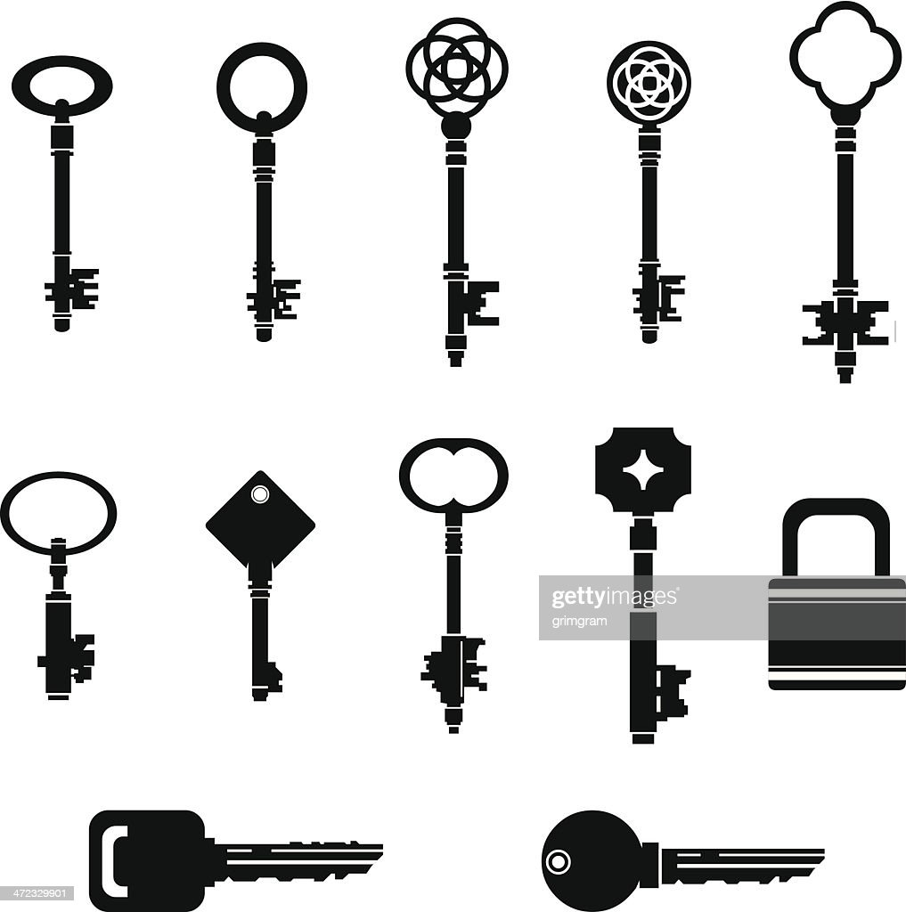 Black Key Silhouettes with Lock