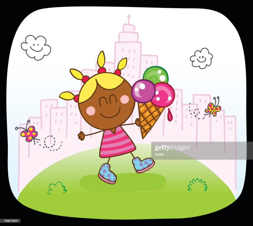 black kid girl with icecream and spring,summer nature cartoon : stock illustration