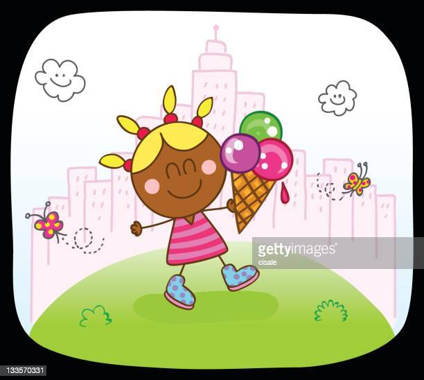 black kid girl with icecream and spring,summer nature cartoon