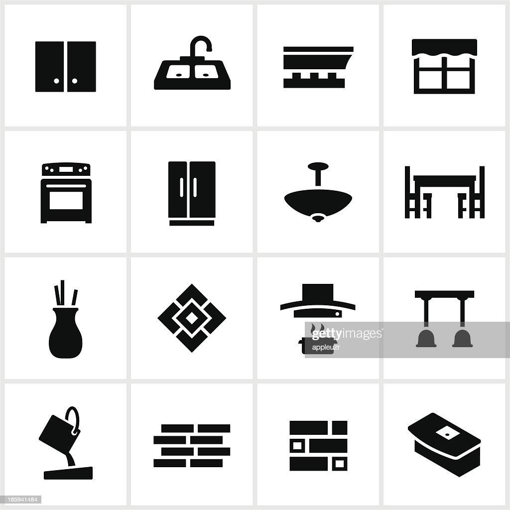 ブラックのキッチン改装のアイコン : ストックイラストレーション