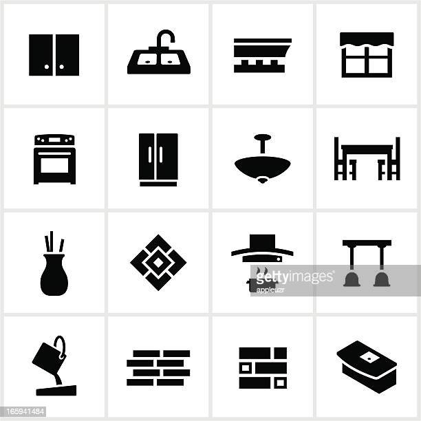 black kitchen remodel icons - carpenter stock illustrations