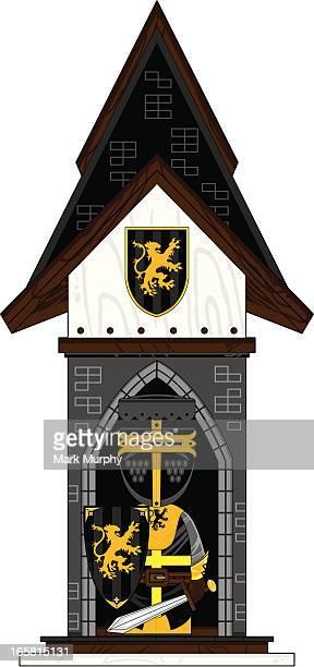 black knight in mini turret castle - helmet visor stock illustrations, clip art, cartoons, & icons