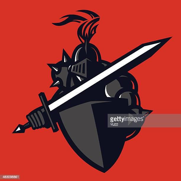 black knight - fighting stance stock illustrations, clip art, cartoons, & icons