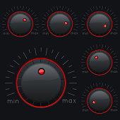 Black knob buttons. Min and max level