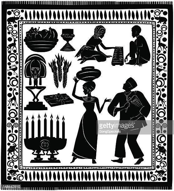 black kwanzaa silhouettes - kwanzaa stock illustrations, clip art, cartoons, & icons