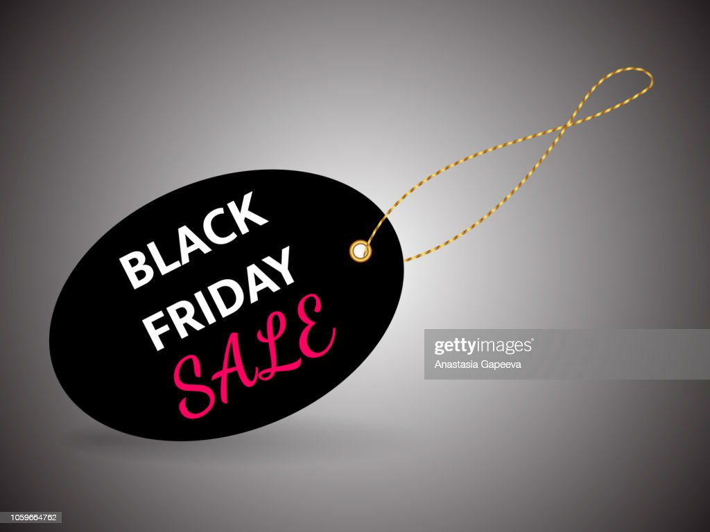 Black label with Black friday inscription. Vector illustration.