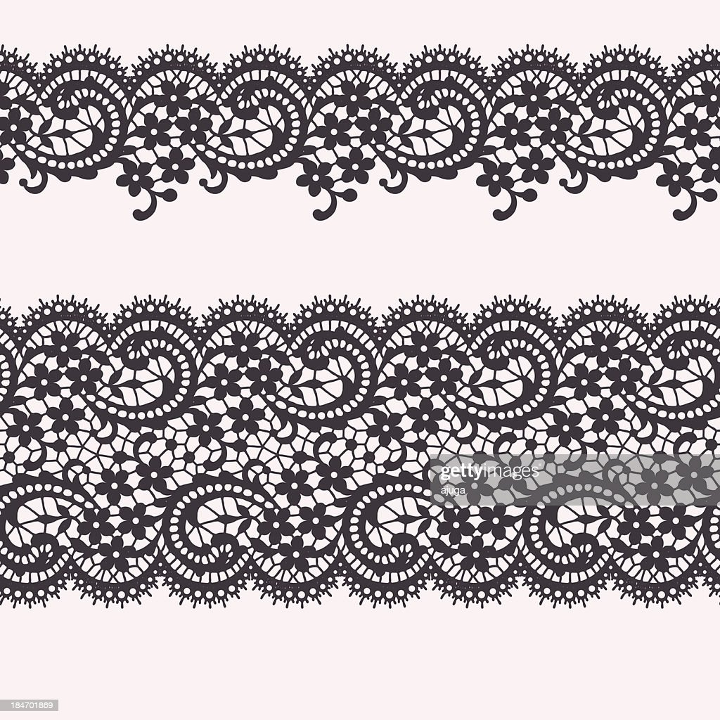 Black Lace.  Floral Pattern. Seamless Pattern. Border.