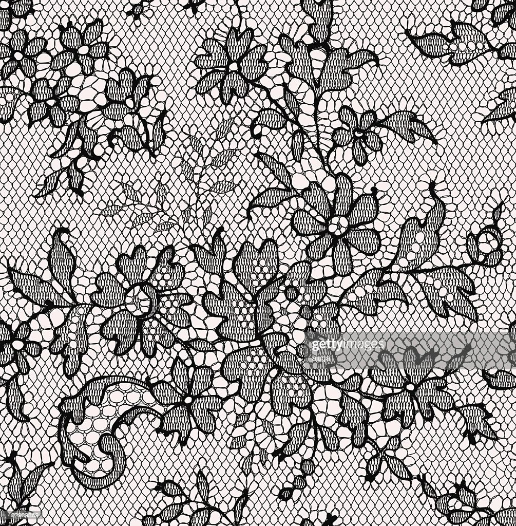 Black lace. Seamless Pattern. Floral Pattern.