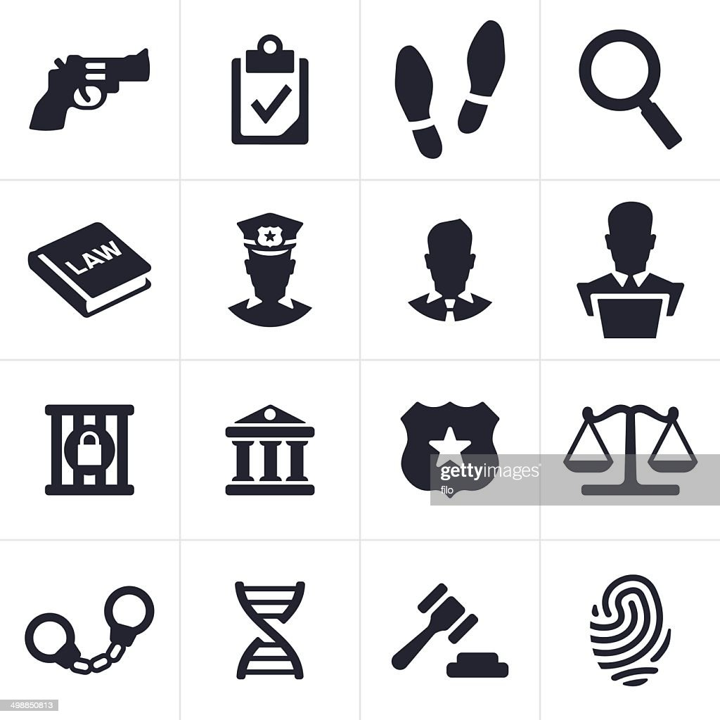 Black law and crime icons against white background