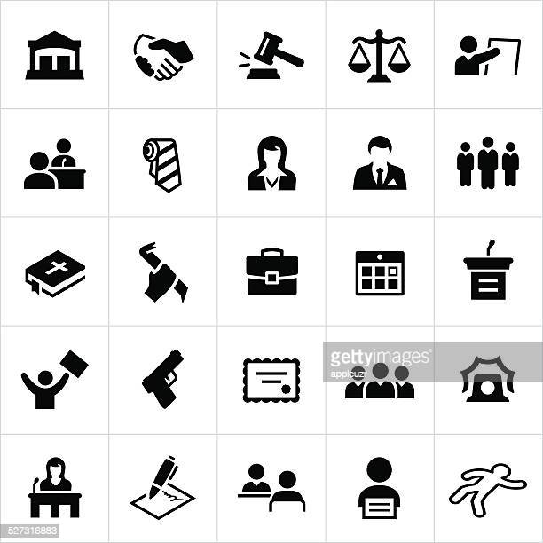 schwarze, verbrechen, gesetz und gerechtigkeit icons - crime or recreational drug or prison or legal trial stock-grafiken, -clipart, -cartoons und -symbole