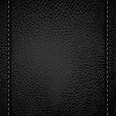 Black leather background with sewn seams on both sides