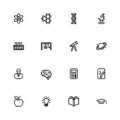 Black line education and science icon set