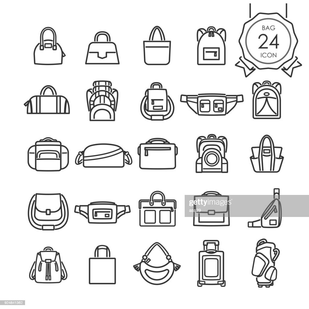 Black line icons set of bags for website isolated on white background, Vector illustration.