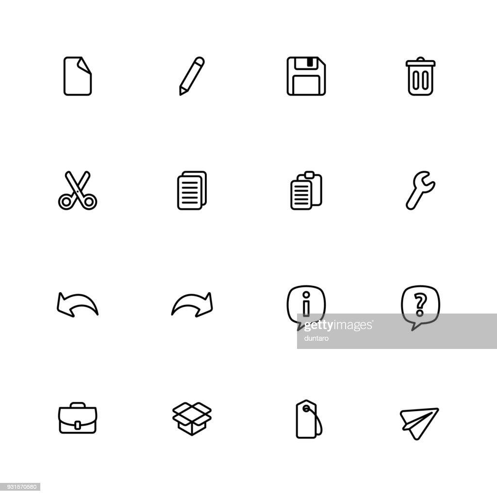 Black line simple web icon set