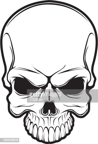 Line Art Skull : Black line skull vector art getty images