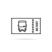 black linear bus ticket simple