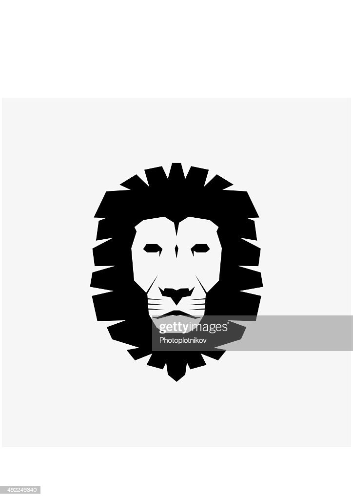 Black Lion Head Icon. Vector Illustration