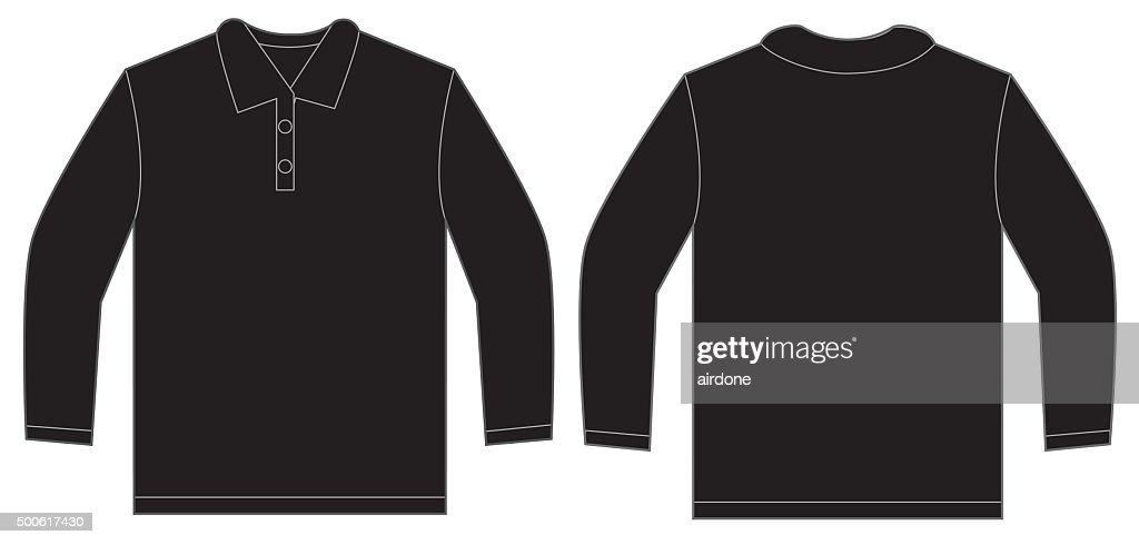 Black Long Sleeve Polo Shirt Design Template