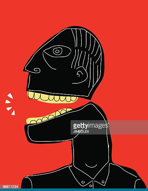 black man on red backgroud white line speaking, yelling - north african ethnicity stock illustrations, clip art, cartoons, & icons