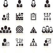 Black management icons on white background