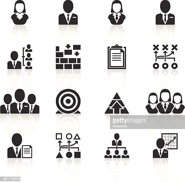 Ícones de gestão de negro sobre fundo branco