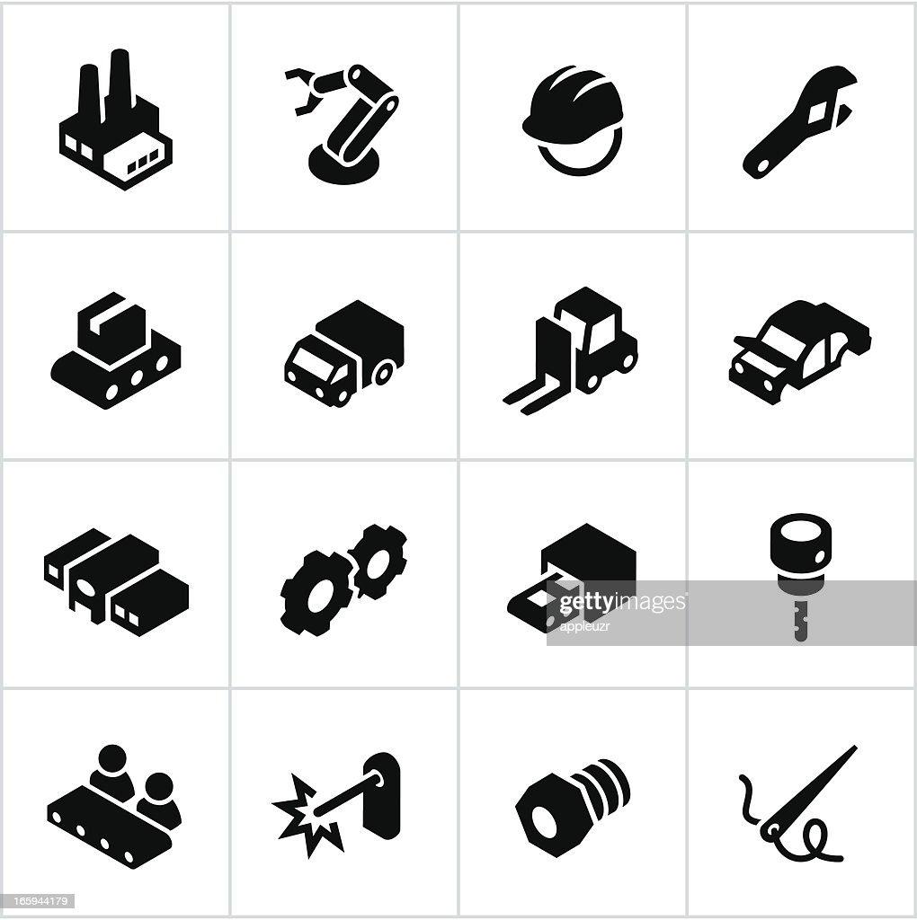 Negro iconos de fabricación : Ilustración de stock