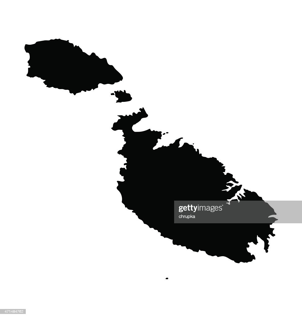 black map of Malta