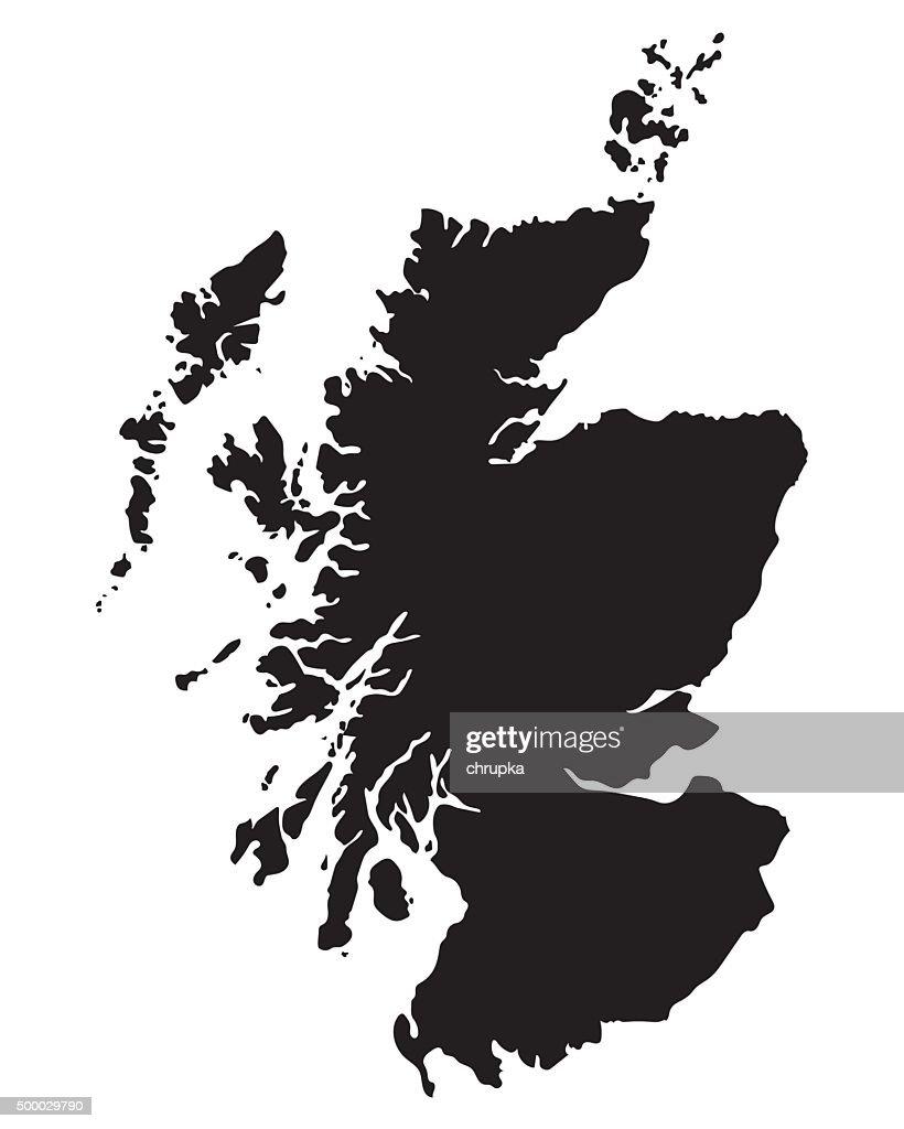 black map of Scotland