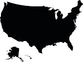 USA black map on white background vector