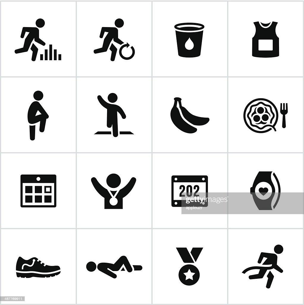 Black Marathon Icons : stock illustration