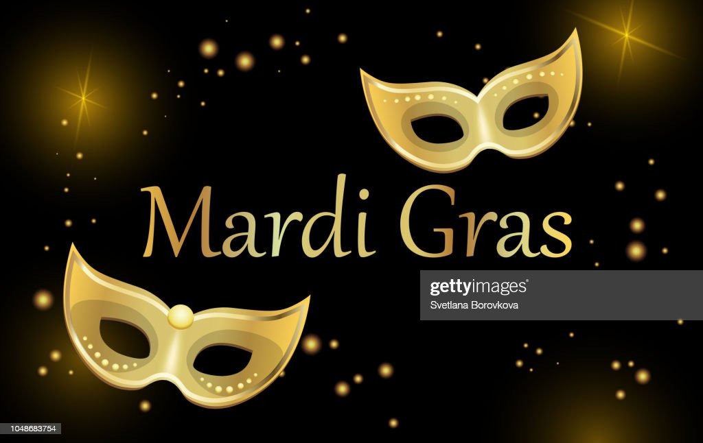 Black mardi gras carnival background with gold masks.