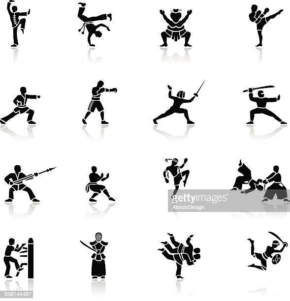 ilustrações de stock, clip art, desenhos animados e ícones de preto ícones de artes marciais - capoeira