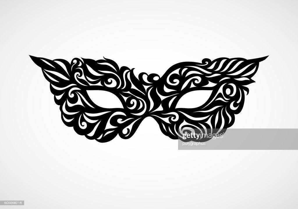 Black masquerade mask isolated on white background