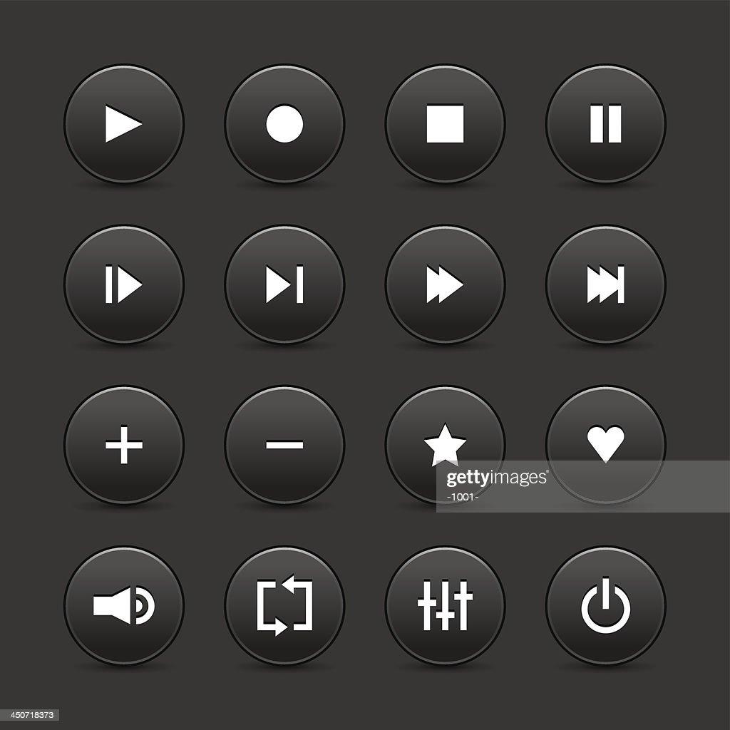 Black media player audio video icon circle button gray background