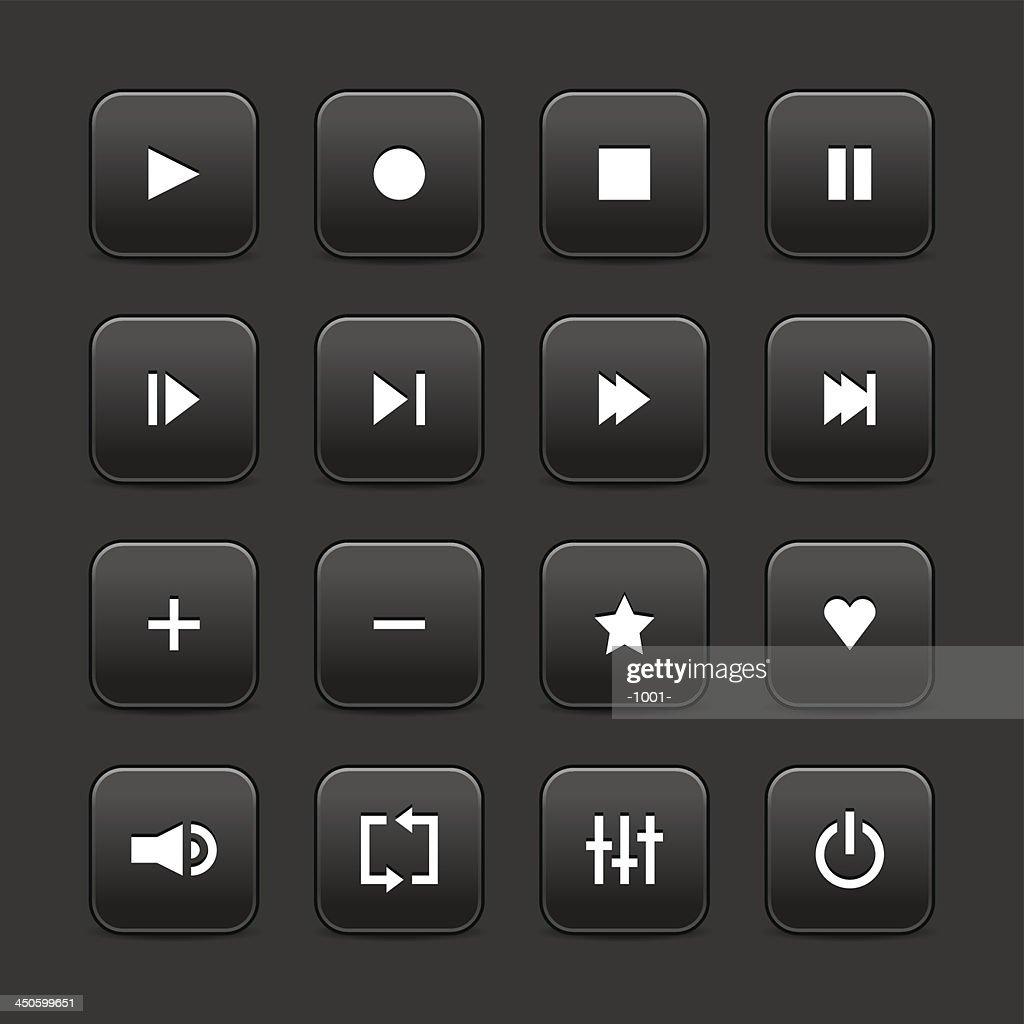 Black media player audio video icon square button gray background