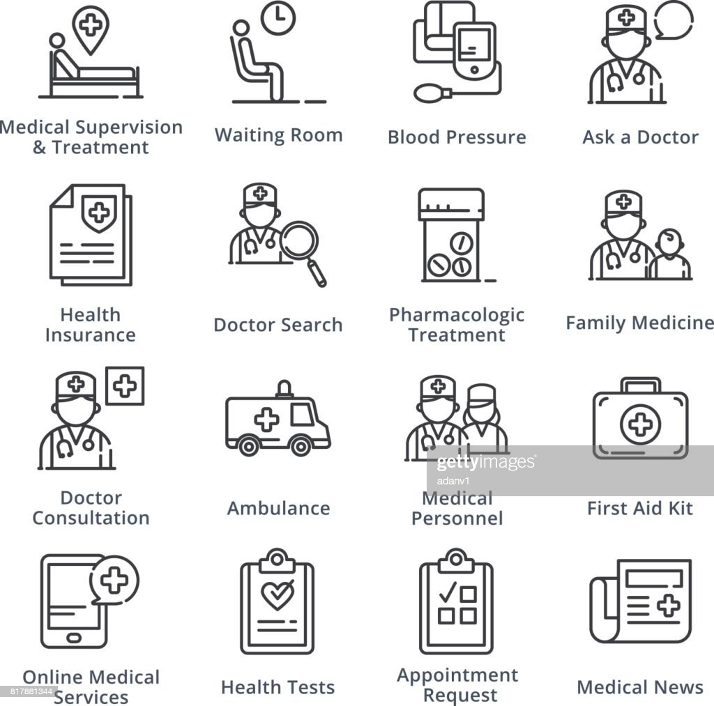 Black Medical & Health Care Icons Set 2 - Outline Series