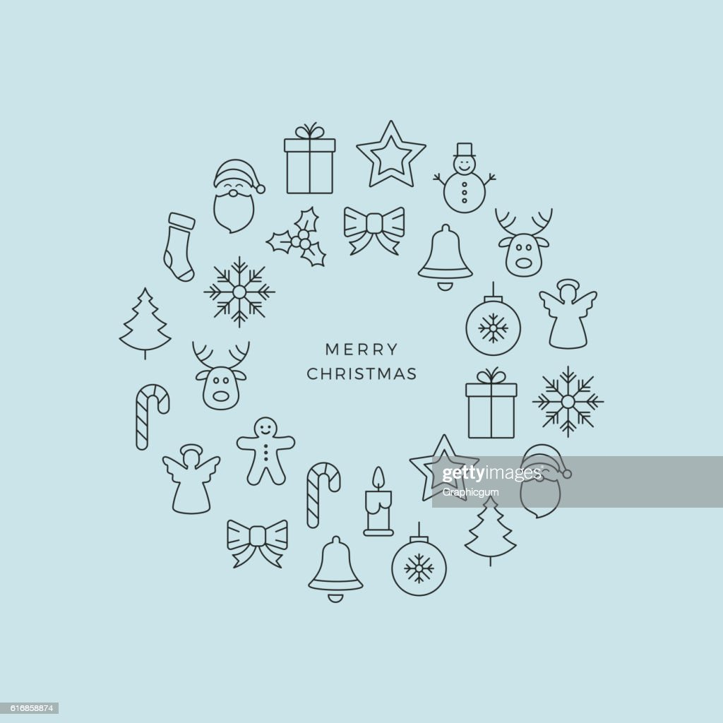 black merry christmas circle line icons blue background : Vector Art