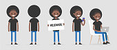 Black millennial character in various poses: front and back view, holding a sign, checking the phone, working on a laptop. Lifestyle. Flat editable vector illustration, clip art