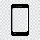 Black mobile phone icon on transparent background. Vector illustration
